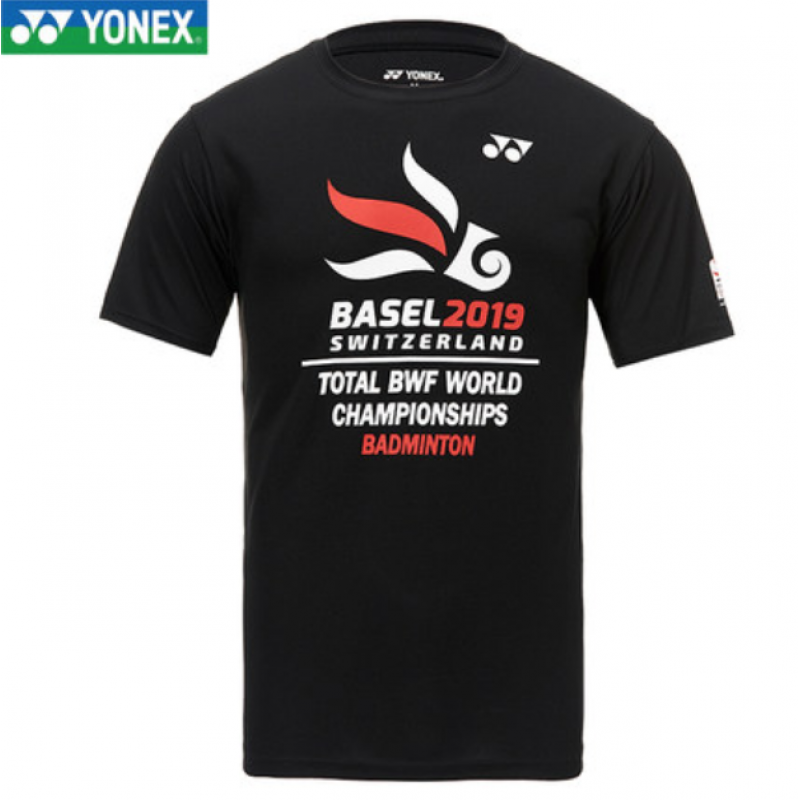 Yonex 19280-BK Unisex Basel 2019 TOTAL World Championships T-Shirt